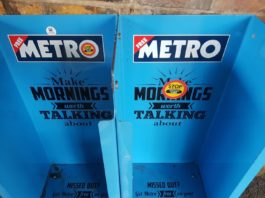 Picture of an empty METRO newspaper stand